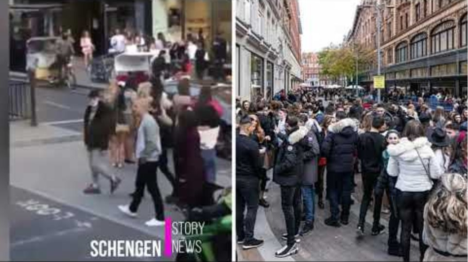 Chaotic scenes by Harrods as crowds of people head to pubs and bars