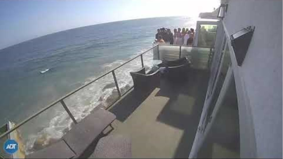 Terrifying Moment Packed Balcony Collapses in Malibu
